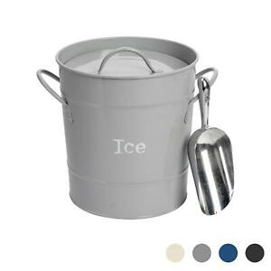 Ice Bucket Wine Champagne Beer Party Cooler with Lid Stainless Steel Scoop Grey