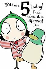 Sarah & Duck Colour-Me-In Greetings Card - Happy 5th Birthday mty asdms008