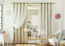 HEART Double Layer Blockout with Lace curtain - BEIGE 140 x 233cm