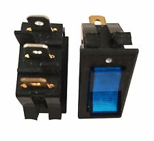 2 x Switch AC 250V 15A Blue Light illuminated ON/OFF 2 Position Rocker 3 Pin