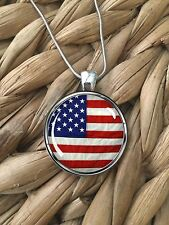 American Flag pendant necklace 4th of July Patriotic Silver Round Handmade NEW