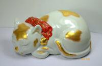 Antique Kutani Sleeping Cat Figurine Japanese Moriage Porcelain Heavy