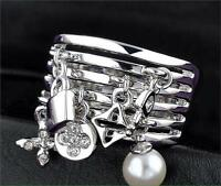 White Gold Plated Flower Cross Link Chain Shape Pearl Chunky Ring