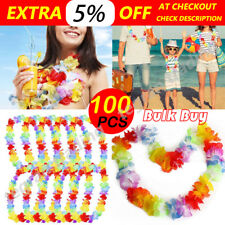 100 Pcs Hawaiian Beach Party Flower Lei Leis For Hula Costume Fancy Dress 105cm