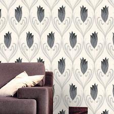 Black White Grey Glitter Flower Textured Feature Wallpaper Belgravia Moda 240