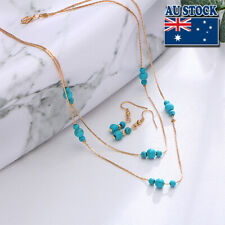 18K Gold Plated Turquoise Beads Double Layers Chain Bib Necklace Earring Set
