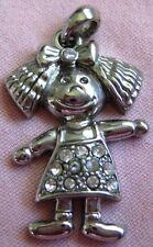 "Silver Plated Rhinestone studded Little Girl Figure Charm/Pendant 1 1/4"" Long"