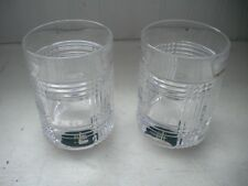 Set of 2 Ralph Lauren Double Old Fashioned Glen Plaid Crystal Tumblers New
