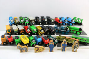 Lot of 30+ Thomas the Train & Friends Wood - Wooden Train Cars, Tenders, Figures