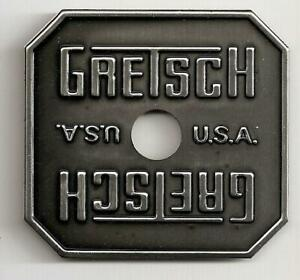 Gretsch USA Black Gray Square Drum Badge Nameplate Snare Tom Bass NOS
