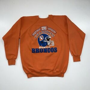 Vintage 80s Denver Broncos Crewneck Sweatshirt Size L/XL Orange NFL Football