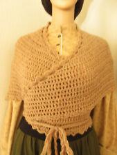 Womens Size S-L Tan 100% Wool Crocheted Sontag Victorian Civil War