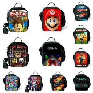 Boys Girls Kids Roblox Insulated Lunch Bag Outing School Food Picnic Box UK