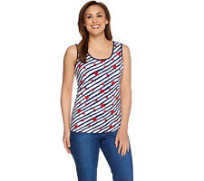 Denim & Co. Star Printed Scoop Neck Tank with Solid Binding in Red Multi XS