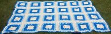 Granny Squares Crochet Afghan Blanket Royal & Light Blue White Handmade Crochet!