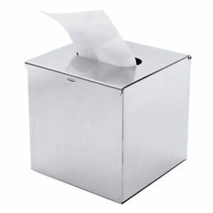 Elegant Chrome Tissue Holder 130x130x130mm Stainless Steel Cube Towel Napkin Box