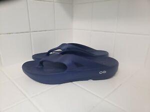 OOFOS Flip Flops Thongs Sandals Navy Blue