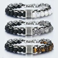 Stainless Steel Chain Natural Stone Multilayer Bracelets Fashion Men Bangles