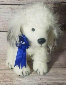 "Fao Schwarz Plush Poodle Dog Stuffed Animal Blue Ribbon White Gray 11"""