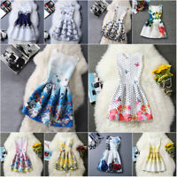 New Long Sleeveless Printed A-Line Girls Dress Spring Summer Party Kids Clothes