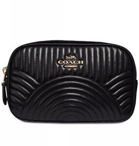 ❤️ Coach Deco Quilting 39685 Black/Gold Belt Bag