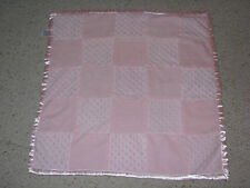 Starting Out Pink Plush Minky Dot Squares Satin Baby Girl Security Blanket Lovey