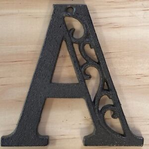 Letter A Cast Iron Metal Ornate Rustic House Craft Scroll Alphabet Antique Brown