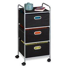 Rolling Drawer Storage Cart Portable Storage Organizer Unit Metal Frame Black