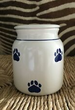 """""""CLAY DESIGN"""" OFF WHITE WITH BLUE PAWS CERAMIC DOG TREAT JAR NEW"""