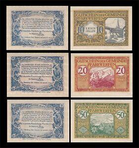 1920 AUSTRIA (PFARRWERFEN) 3 'NOTGELD' BANKNOTE SET