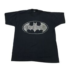 Vintage Batman Shirt Glitter Bat Signal T-Shirt 80s DC Comics Black XL Rare