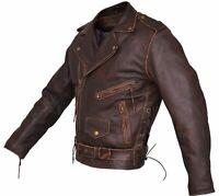 Mens Brown Distressed Leather Marlon Brando Biker Motorcycle Armoured Jacket YKK