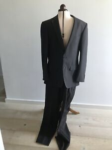 Mens Dark Charcoal Suit 50% Wool Jacket And Pants Regular 34-87 Jacket Size 40