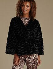 New M&S Collection Black Faux Fur Kimono Short Dressing Gown UK 8-10, EUR 36-38