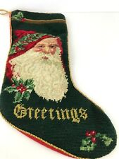 "Christmas Stocking Needlepoint Santa Claus 1990s 18"" Long Fireplace"