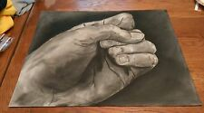 vintage big black & white charcoal sketch fist/clenched left hand Power Justice