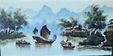 LARGE VINTAGE ORIENTAL SIGNED OIL ON CANVAS PAINTING OF CHINESE? FISHING BOATS