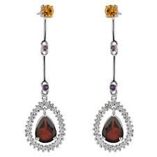 Natural Red Garnet Citrine Amethyst White Topaz Drop Dangle Earring 925 Silver
