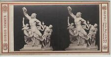 PHOTO ANCIENNE STEREOSCOPIQUE GEORGES SOMMER  GROUPE LAOCOON ( MONTORSOLI) 1880