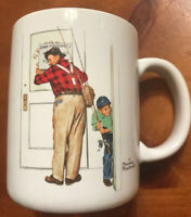 """Collectible Norman Rockwell 1987 Cup Mug """"Closed for Business"""" Japan"""