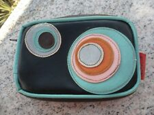 Funky Mod Circle Leather Wallet Women's Coin Purse 1001 Faux Leather Brown Blue