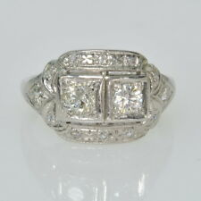 Vintage Antique Platinum Filigree 1/2 Cttw Diamond Two Stone w/ Accents Ring