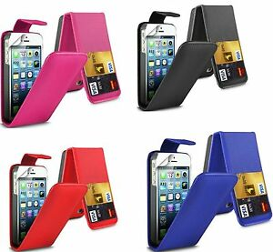 Flip Leather case Cover with Card Slots&clip for Apple Iphone 5/5s Multicolor UK
