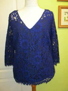 SIZE 18 WOMENS SPECIAL OCCASION BLUE LACY TOP BY JASPER CONRAN