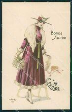 Borzoi dog Glamour Lady Christmas Greetings CREASED postcard cartolina QT6169