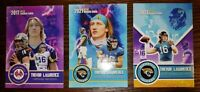 TREVOR LAWRENCE x3 ROOKIE CARD 2021 VERY FIRST EVER GOLD ROOKIE GEMS JAGUARS LOT