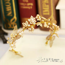 Gold Beaded Butterfly Baroque Wedding Bridal Crown Tiara Bride Hair Accessories