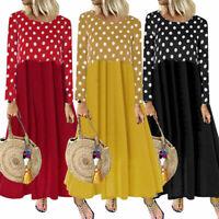 Patchwork Sleeve Dot Women Long Polka Dress Casual Shirt Maxi