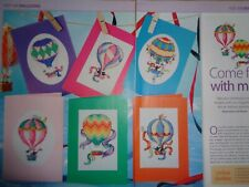 Hot Air Balloon designs for cards cross stitch chart designed by Lucie Heaton