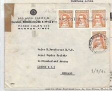 XX338 1941 WW2 ARGENTINA Buenos Aires Commercial Cover + Contents GB London
